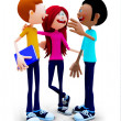 3D group of students talking — Foto de Stock