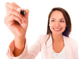 Business woman with a pen — Stock Photo