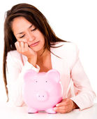 Upset woman needing money — Stock Photo