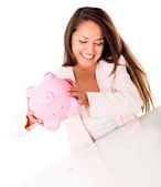 Woman using her savings — Stock Photo