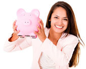 Business woman saving money — Stock Photo