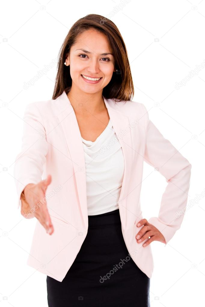 Business woman extending her hand to handshake - isolated over white — Stock Photo #14086995