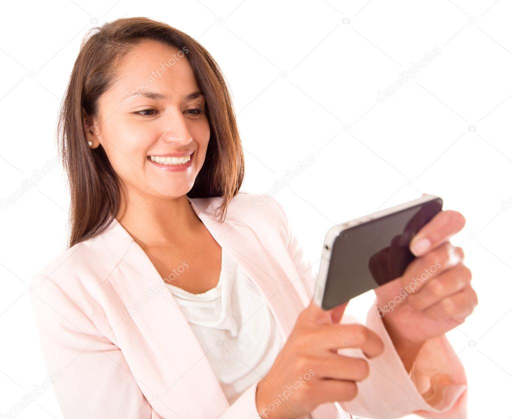 Woman using apps on her cell phone - isolated over a white background  — Stock Photo #14087014
