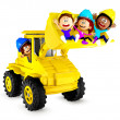 3D kids playing with a bulldozer - Stock Photo