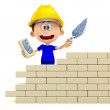 3D Construction worker - Stock Photo