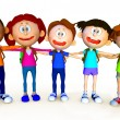 3D group of school kids — Stock Photo #14099469