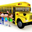 3D Kids going to school by bus - Stok fotoğraf