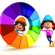 3D kids with a color chart — Stock Photo
