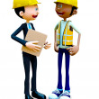 3D construction workers talking — Stock Photo