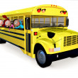 3D kids in a school bus - Stock Photo