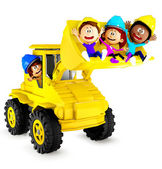 3D kids playing with a bulldozer — Stock Photo