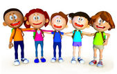 3D group of school kids — Stock Photo