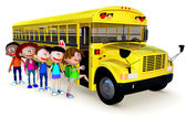 3D Kids going to school by bus — Photo