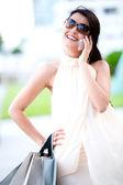 Mujer comercial en el teléfono — Foto de Stock