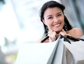 Happy woman shopping — Stock Photo