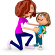 3D Mum sending kid to the school - Stockfoto
