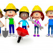 3D kids working in construction — Stock Photo