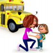 3D Mother sending kid off to school - Stockfoto