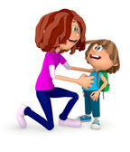 3D Mum sending kid to the school — Stockfoto