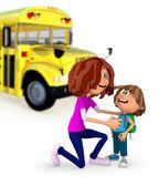 3D Mother sending kid off to school — Stock Photo