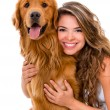 Woman with a dog — Stock Photo