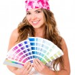 Woman with a Pantone - Stock Photo