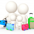 3D family going on holidays - Stock Photo