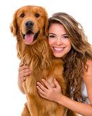 Femme avec un chien — Photo