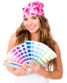 Woman with a Pantone — Stock Photo