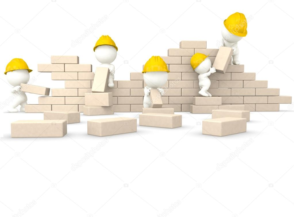 Build The Wall : D guys building a wall — stock photo andresr