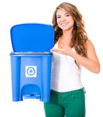 Woman encouraging to recycle — Stock Photo