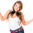 Woman with headphones — Foto Stock