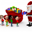 Stock Photo: 3D Santa giving Christmas presents
