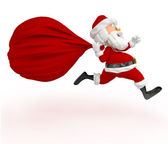 3D Santa running late — Stock Photo