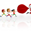 3D kids chasing Santa - Stock Photo