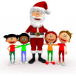 Stock Photo: 3D Santa with a group of kids