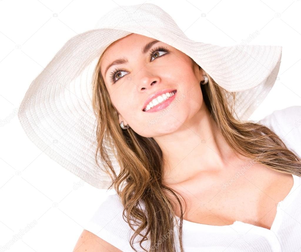 Beautiful woman with a hat - isolated over a white background   Stock Photo #14665165