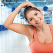 Gym woman warming up — Stock Photo