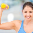 Strong gym woman — Stock Photo