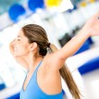 Excited gym woman loosing weight — Stock Photo #14882085