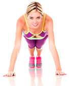 Woman doing push ups — Stock Photo