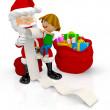 çocuğu olan 3D santa — Stok fotoğraf