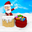 3D Santa on the roof — Stock Photo