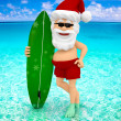3D Santa at the beach  — Stock Photo