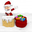 3D Santa in the chimney - Stock Photo