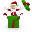 3D Santa giving a Christmas surprise - Stock Photo