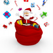 3D Happy Santa throwing gifts — Stock Photo