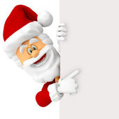 3D Happy Santa with a banner — Stock Photo