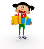 3D kid holding gifts — Stock Photo