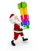 3d santa, die geschenke — Stockfoto